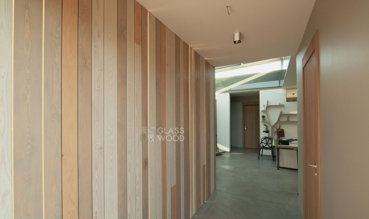 Decorative wood wall with LED