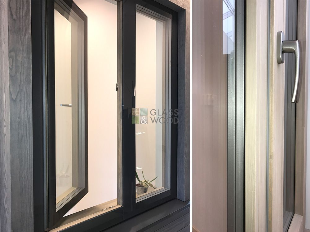 Wooden windows with structural glazing