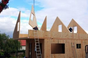Cross-laminated timber huse