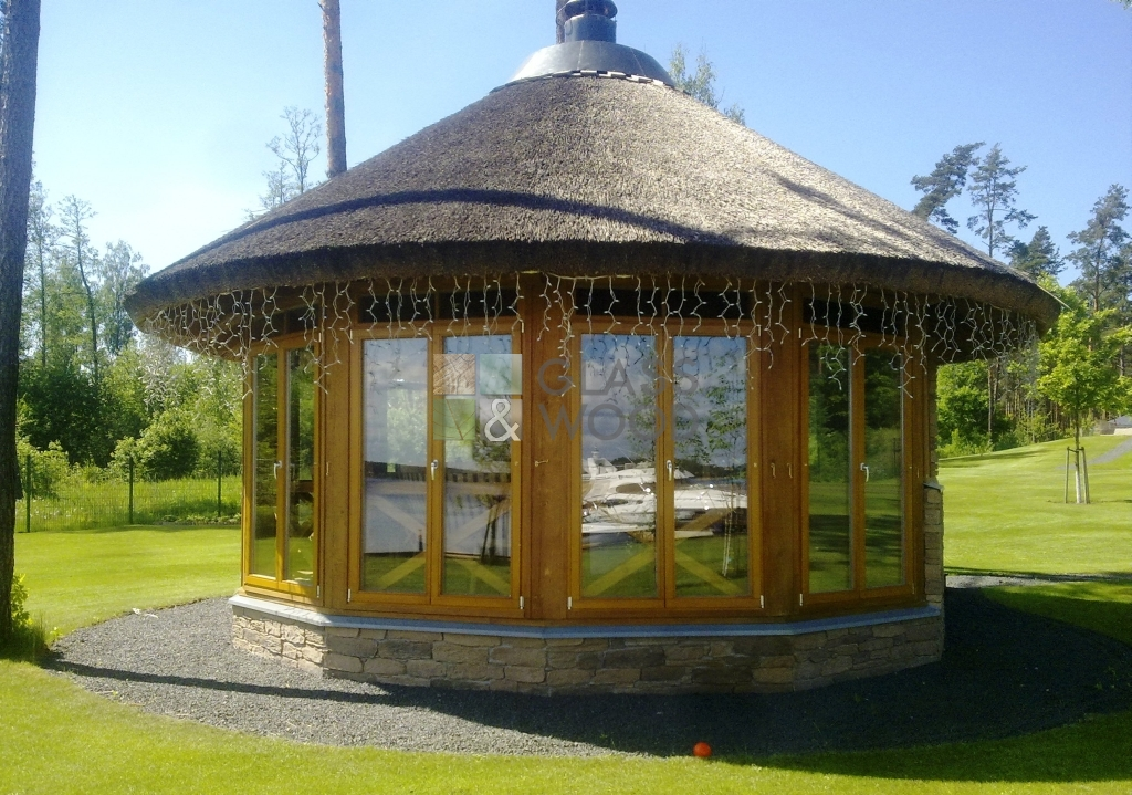 gazebo with a thatched roof