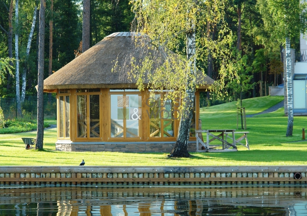 classic gazebo, pergola with thatched roof