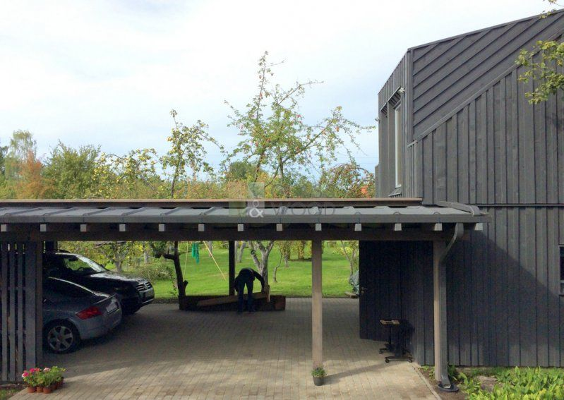 Car shed with a roof terrace