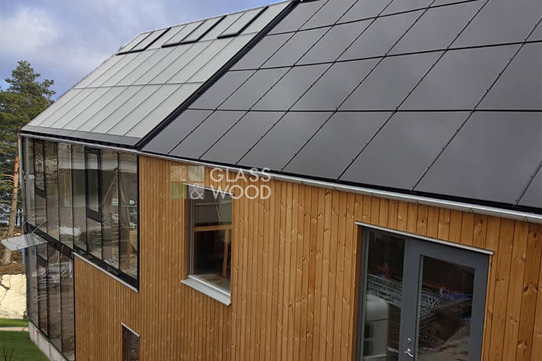 Wooden eco houses with solar panel