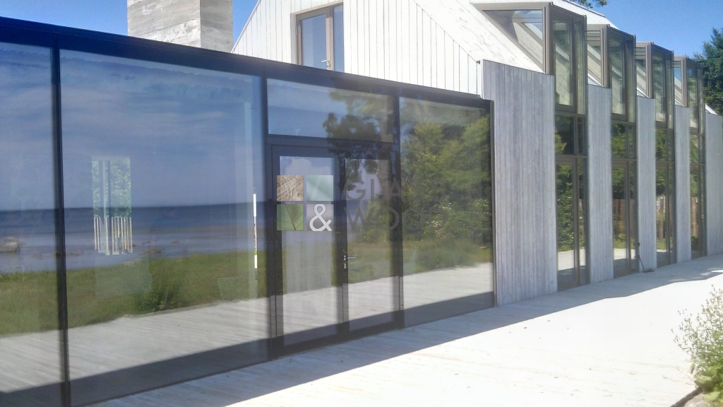 Modern glass outbuilding