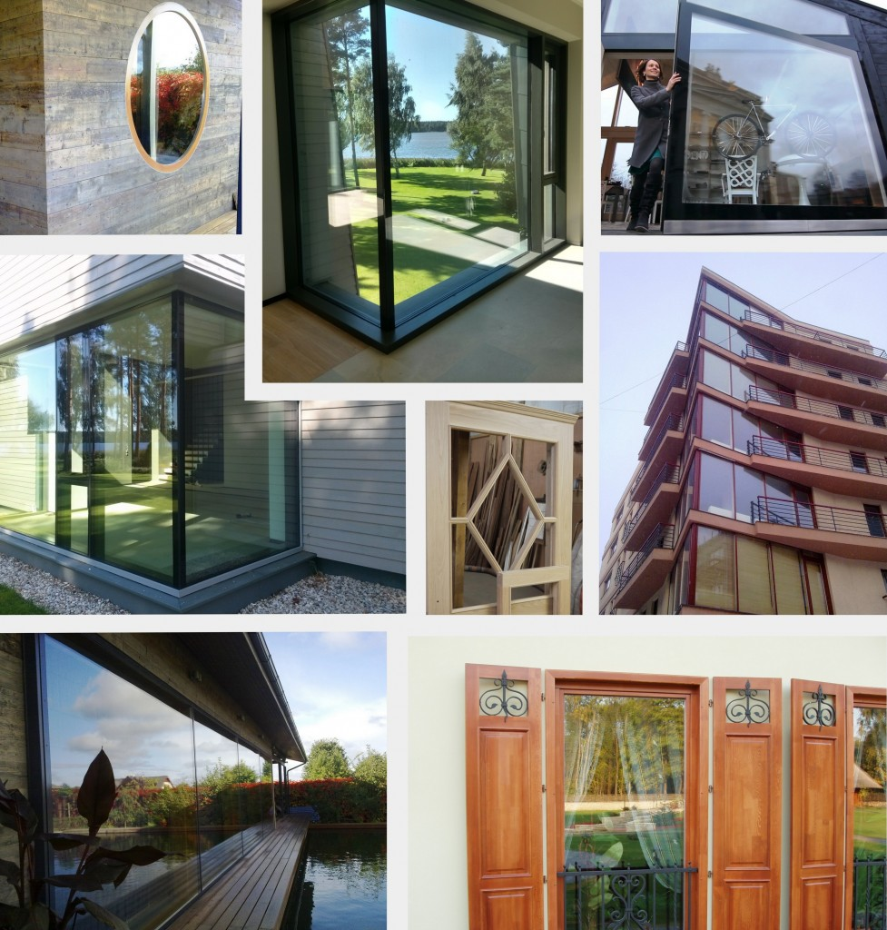 Koka logi, logi mājai, koka logu izbūve, koka logu ražošana, logu ražošana, koka logu izbūve, ārējie koka logi,  koka logi stikla fasādēm, koka un stikla konstrukcijas.