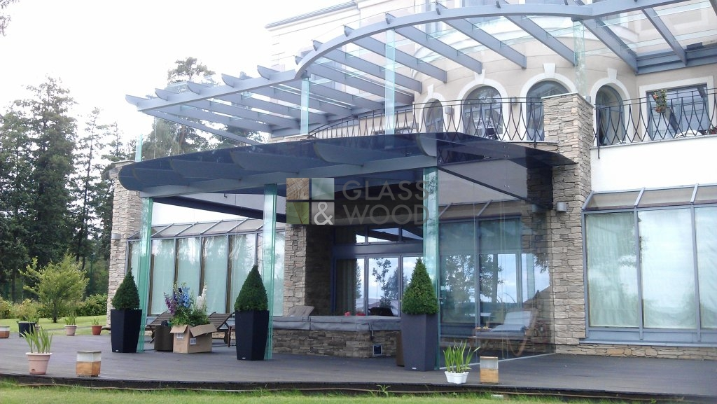 Glass house building